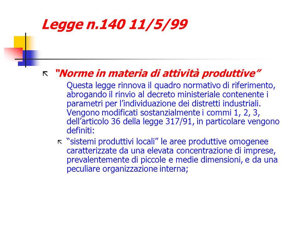 Legge n.140 11/5/99 ã Norme in materia di attività produttive Questa legge rinnova il quadro normativo di riferimento, abrogando il rinvio al decreto