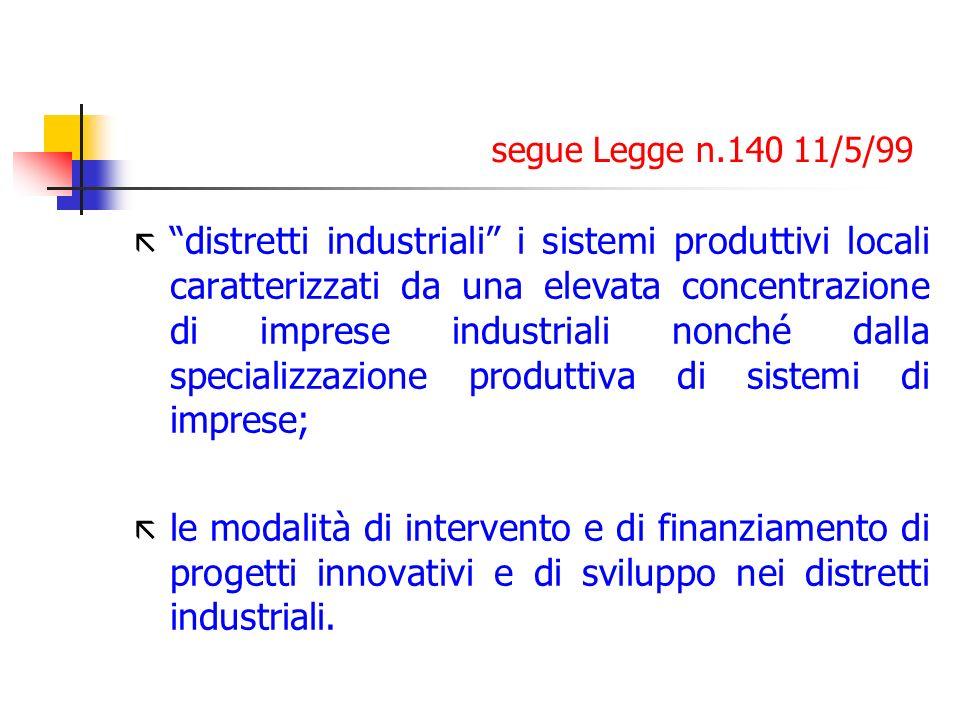 segue Legge n.140 11/5/99 ã distretti industriali i sistemi produttivi locali caratterizzati da una elevata concentrazione di imprese industriali nonc
