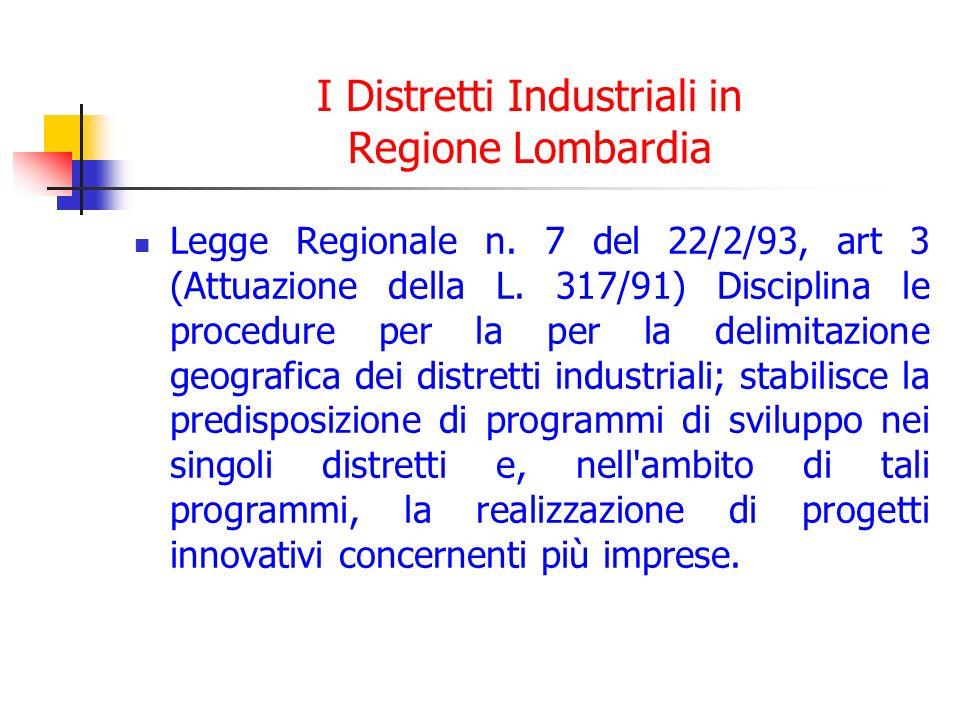 I Distretti Industriali in Regione Lombardia Legge Regionale n. 7 del 22/2/93, art 3 (Attuazione della L. 317/91) Disciplina le procedure per la per l