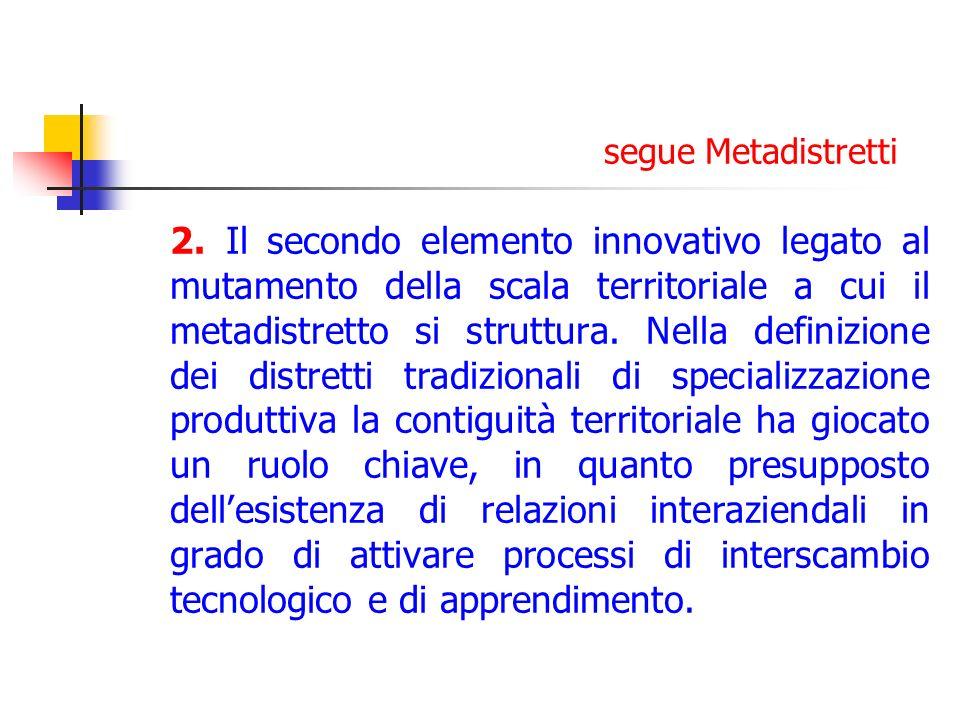 segue Metadistretti 2. Il secondo elemento innovativo legato al mutamento della scala territoriale a cui il metadistretto si struttura. Nella definizi