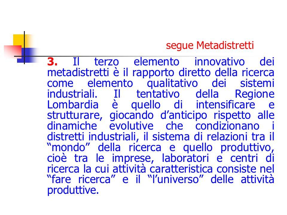 segue Metadistretti 3. Il terzo elemento innovativo dei metadistretti è il rapporto diretto della ricerca come elemento qualitativo dei sistemi indust