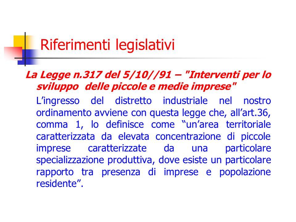 segue legge 317/91 Il 2° comma rimanda al Ministero dellIndustria lemanazione di un apposito decreto contenente i parametri la cui verifica territoriale consenta alle Regioni di definire le aree da considerare distretti industriali.