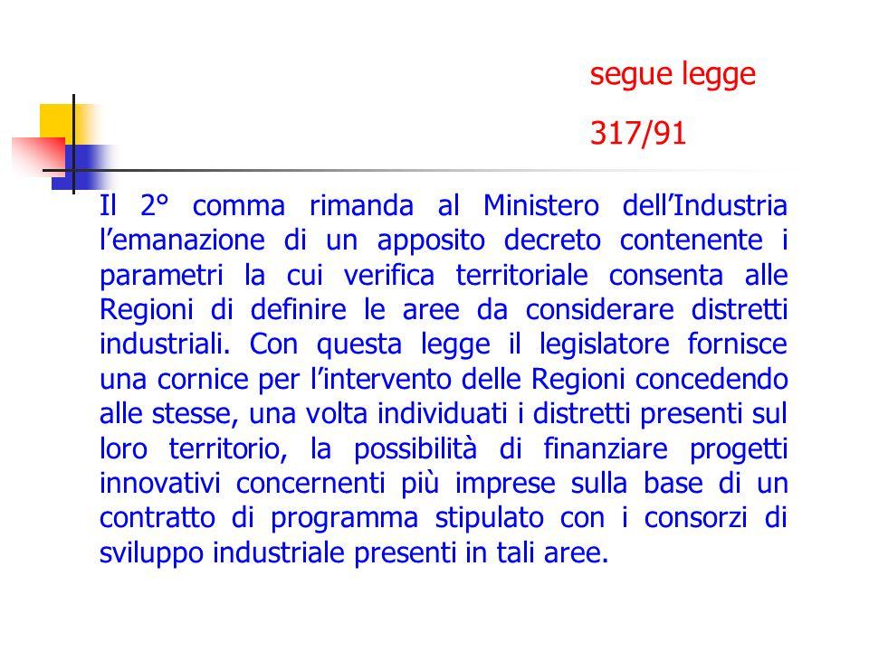 segue legge 317/91 Il 2° comma rimanda al Ministero dellIndustria lemanazione di un apposito decreto contenente i parametri la cui verifica territoria
