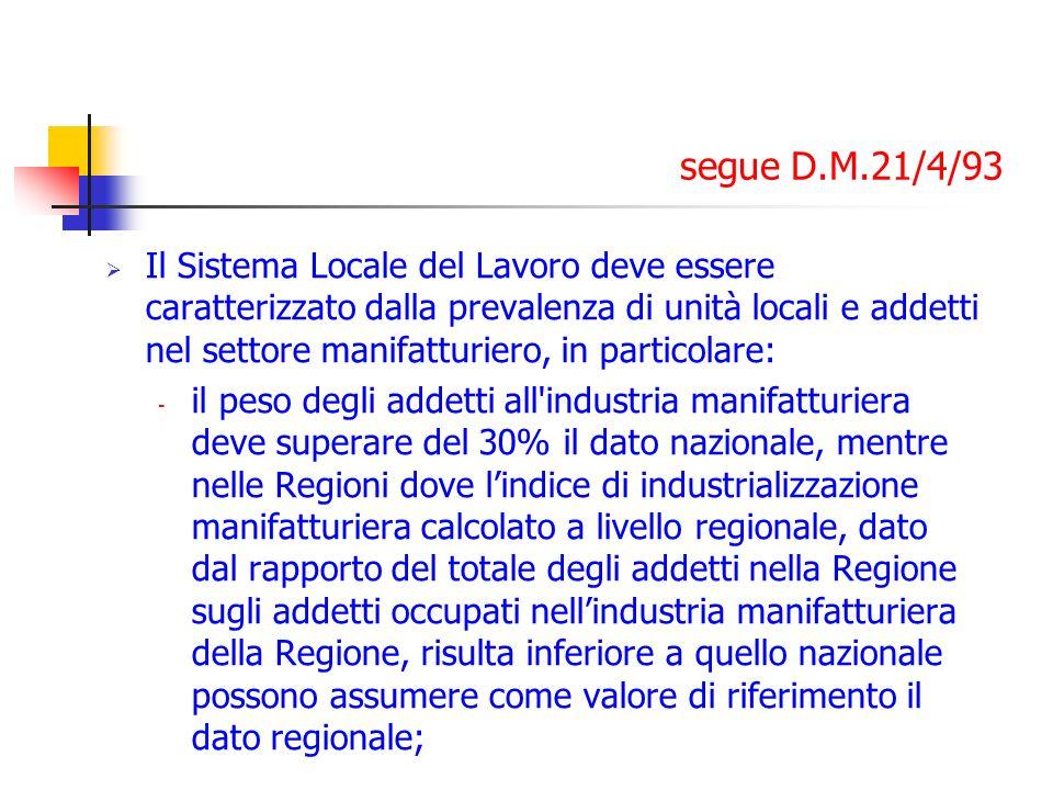 segue D.M.21/4/93 Il Sistema Locale del Lavoro deve essere caratterizzato dalla prevalenza di unità locali e addetti nel settore manifatturiero, in pa
