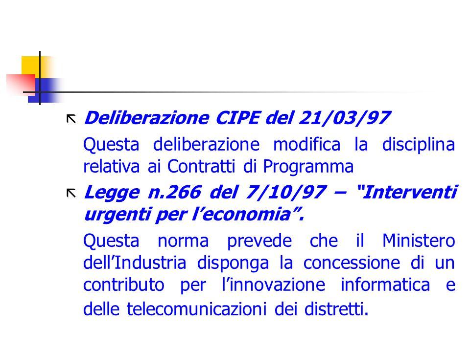 ã Deliberazione CIPE del 21/03/97 Questa deliberazione modifica la disciplina relativa ai Contratti di Programma ã Legge n.266 del 7/10/97 – Intervent