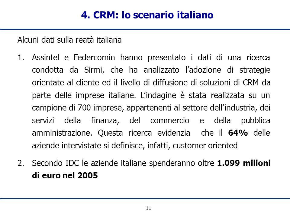 11 Alcuni dati sulla reatà italiana 1.Assintel e Federcomin hanno presentato i dati di una ricerca condotta da Sirmi, che ha analizzato ladozione di s