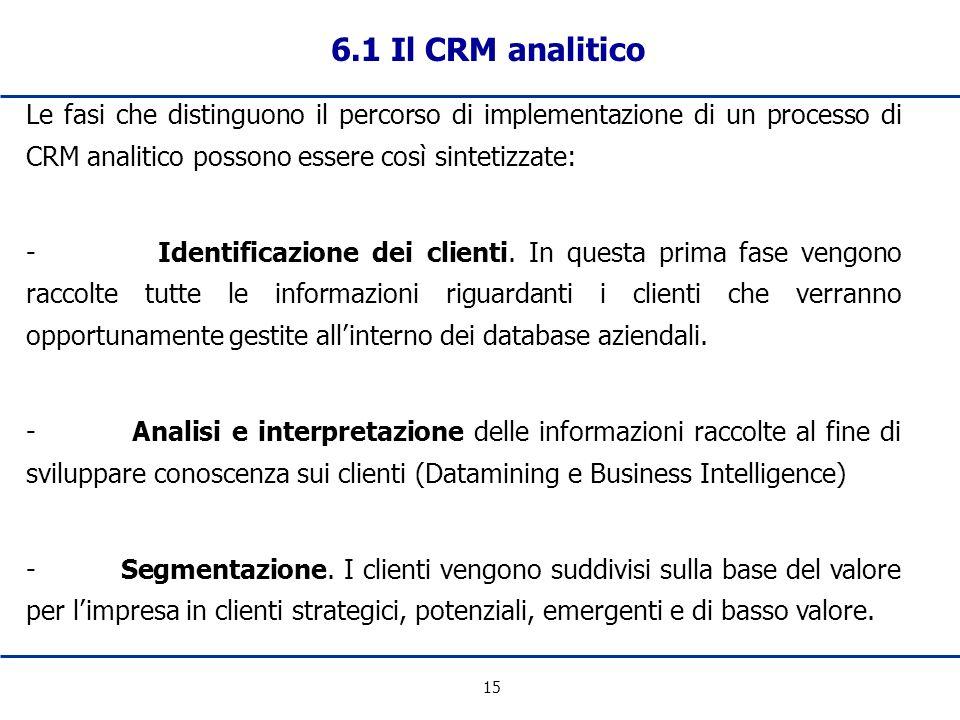 15 6.1 Il CRM analitico Le fasi che distinguono il percorso di implementazione di un processo di CRM analitico possono essere così sintetizzate: - Ide