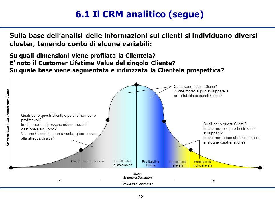 18 6.1 Il CRM analitico (segue) Sulla base dellanalisi delle informazioni sui clienti si individuano diversi cluster, tenendo conto di alcune variabil