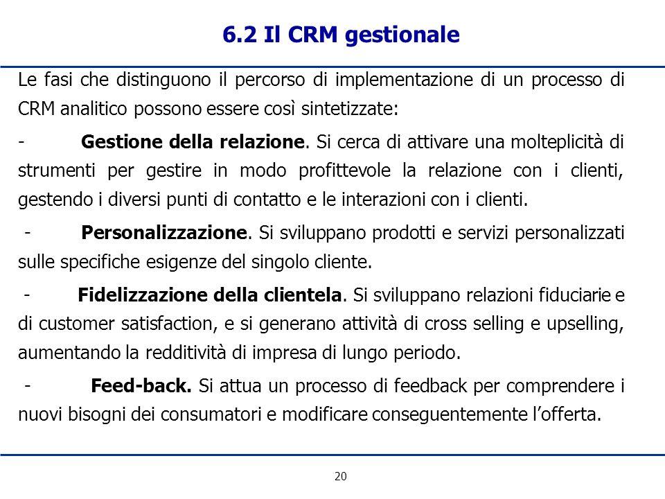 20 6.2 Il CRM gestionale Le fasi che distinguono il percorso di implementazione di un processo di CRM analitico possono essere così sintetizzate: - Ge