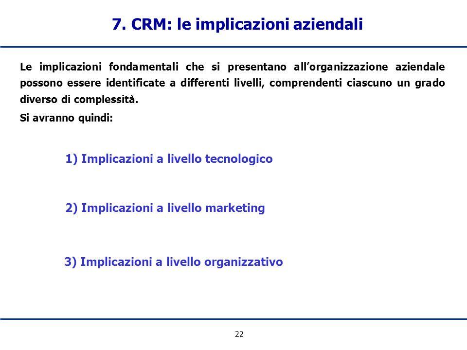 22 7. CRM: le implicazioni aziendali Le implicazioni fondamentali che si presentano allorganizzazione aziendale possono essere identificate a differen
