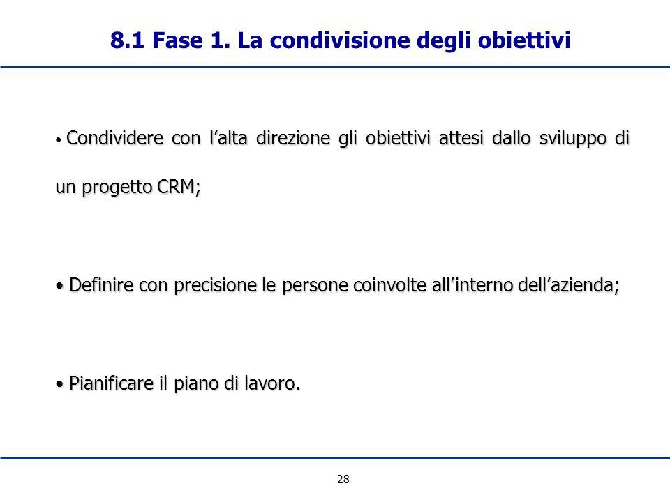 28 8.1 Fase 1. La condivisione degli obiettivi Condividere con lalta direzione gli obiettivi attesi dallo sviluppo di un progetto CRM; Definire con pr