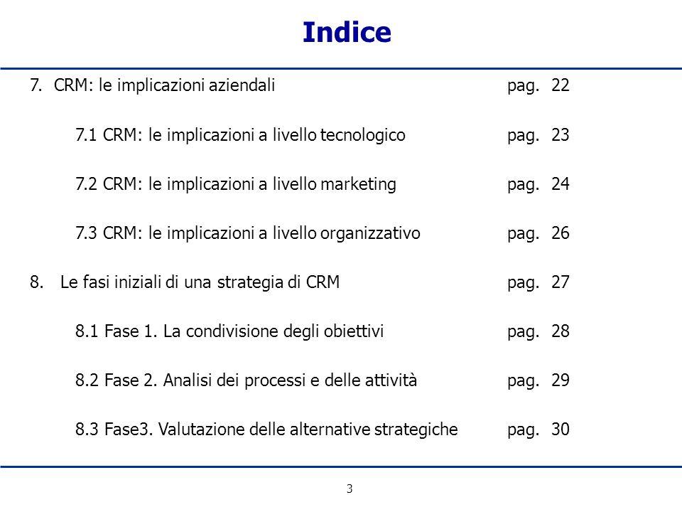 3 7. CRM: le implicazioni aziendalipag. 22 7.1 CRM: le implicazioni a livello tecnologicopag. 23 7.2 CRM: le implicazioni a livello marketingpag. 24 7