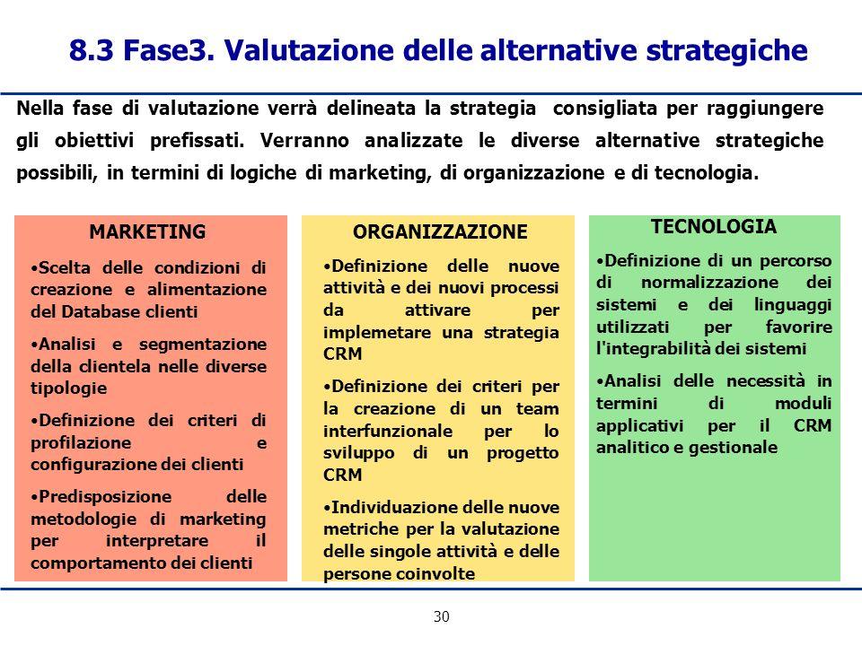 30 Nella fase di valutazione verrà delineata la strategia consigliata per raggiungere gli obiettivi prefissati. Verranno analizzate le diverse alterna