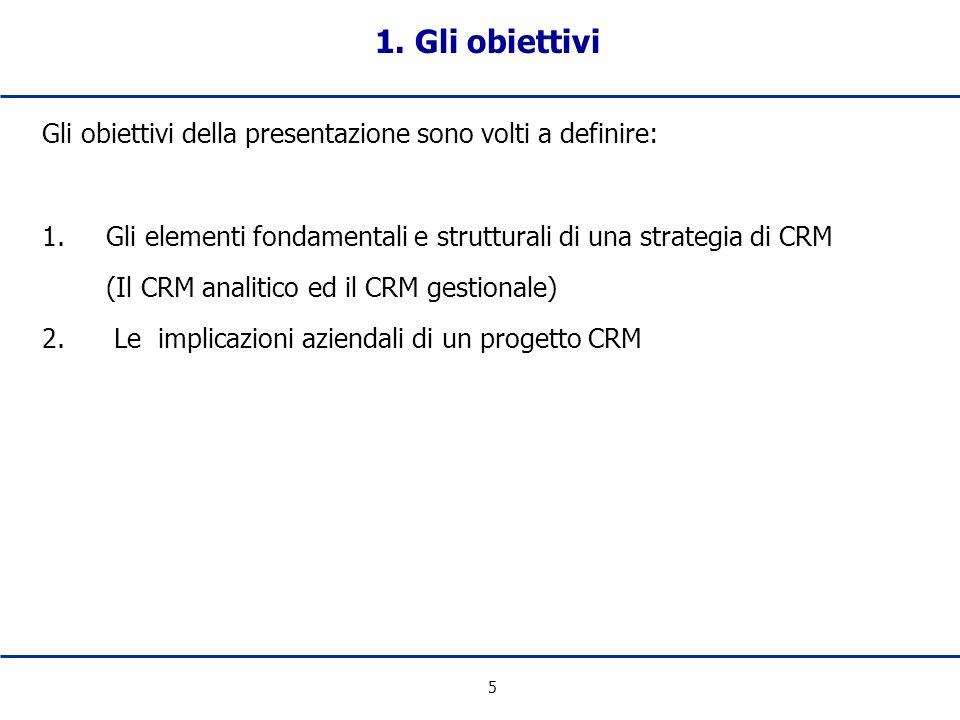 5 Gli obiettivi della presentazione sono volti a definire: 1. Gli elementi fondamentali e strutturali di una strategia di CRM (Il CRM analitico ed il