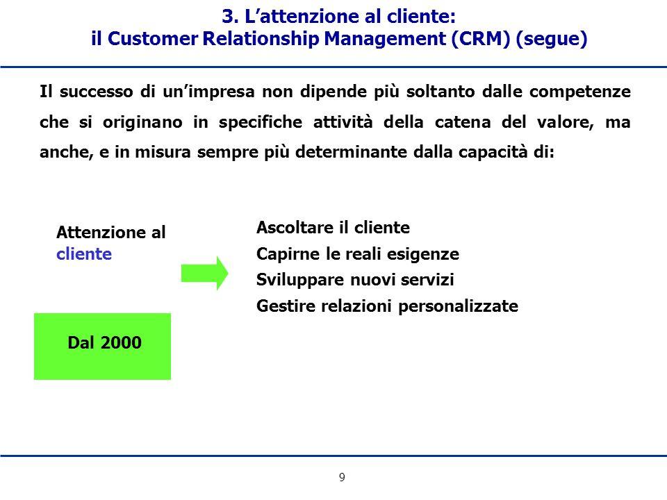 9 3. Lattenzione al cliente: il Customer Relationship Management (CRM) (segue) Il successo di unimpresa non dipende più soltanto dalle competenze che