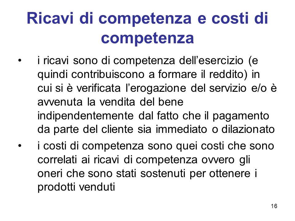 16 Ricavi di competenza e costi di competenza i ricavi sono di competenza dellesercizio (e quindi contribuiscono a formare il reddito) in cui si è ver