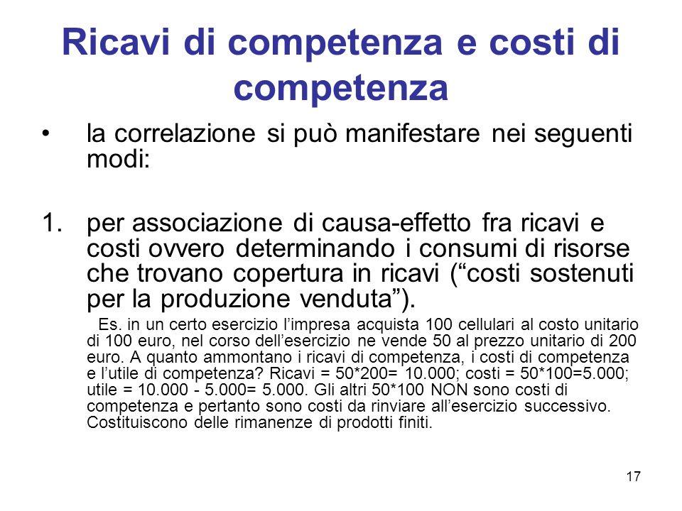 17 Ricavi di competenza e costi di competenza la correlazione si può manifestare nei seguenti modi: 1.per associazione di causa-effetto fra ricavi e c