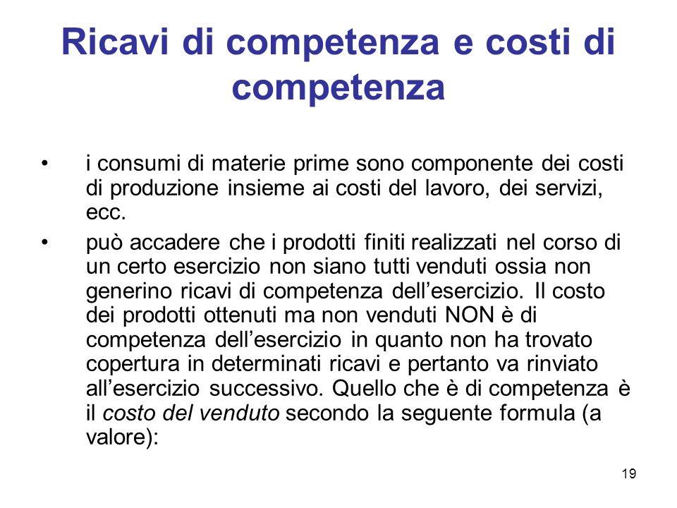 19 Ricavi di competenza e costi di competenza i consumi di materie prime sono componente dei costi di produzione insieme ai costi del lavoro, dei serv