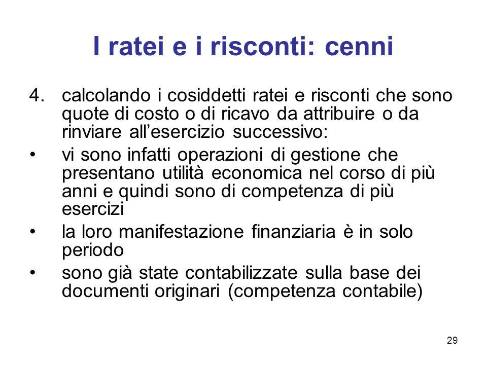 29 I ratei e i risconti: cenni 4.calcolando i cosiddetti ratei e risconti che sono quote di costo o di ricavo da attribuire o da rinviare allesercizio