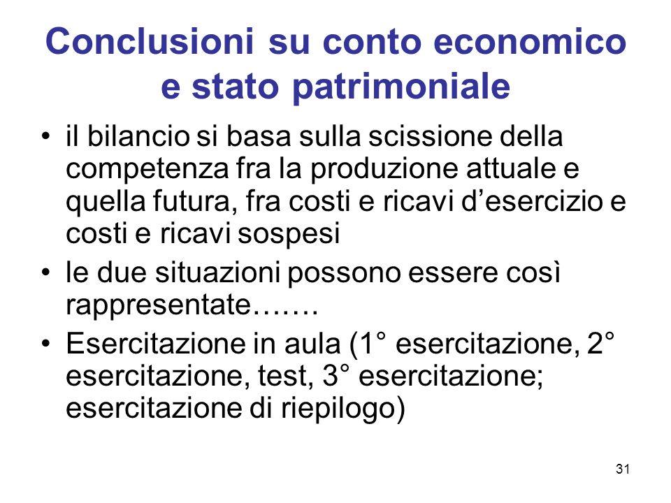 31 Conclusioni su conto economico e stato patrimoniale il bilancio si basa sulla scissione della competenza fra la produzione attuale e quella futura,