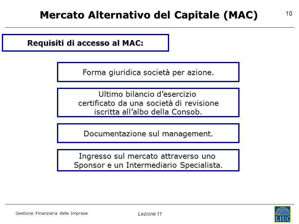 Lezione 11 Gestione Finanziaria delle Imprese 10 Requisiti di accesso al MAC: Forma giuridica società per azione. Ultimo bilancio desercizio certifica