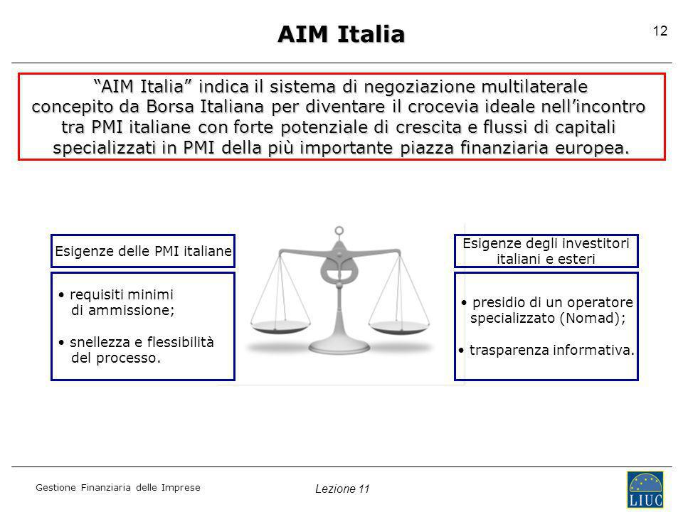 Lezione 11 Gestione Finanziaria delle Imprese 12 AIM Italia AIM Italia indica il sistema di negoziazione multilaterale AIM Italia indica il sistema di