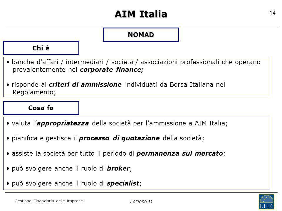 Lezione 11 Gestione Finanziaria delle Imprese 14 AIM Italia NOMAD banche daffari / intermediari / società / associazioni professionali che operano pre