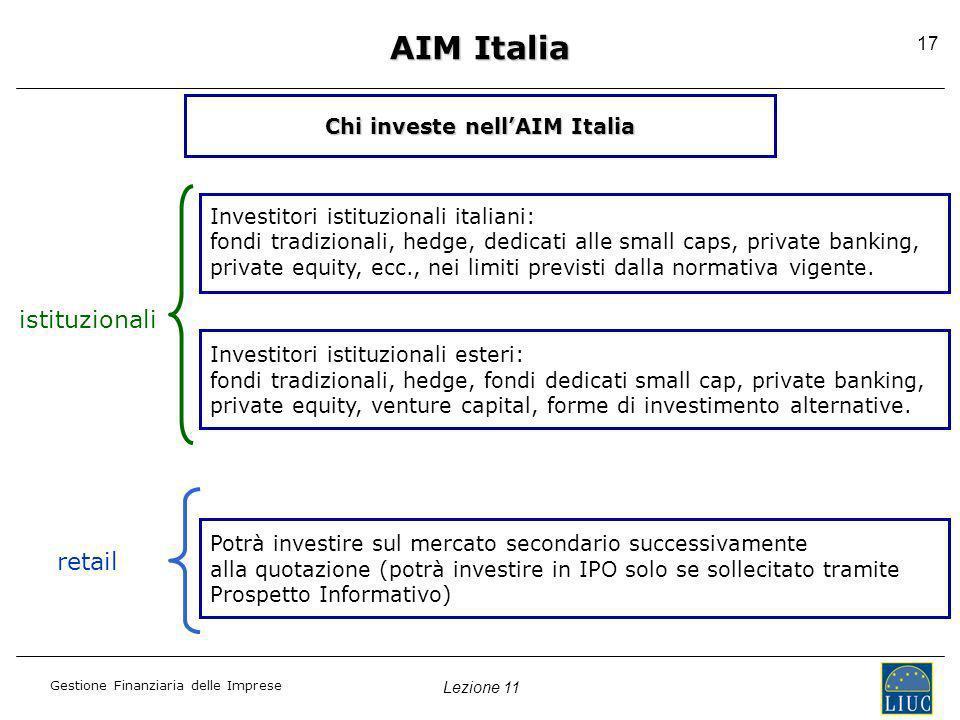 Lezione 11 Gestione Finanziaria delle Imprese 17 AIM Italia Chi investe nellAIM Italia Investitori istituzionali italiani: fondi tradizionali, hedge,