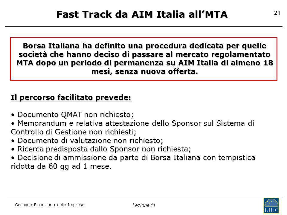 Lezione 11 Gestione Finanziaria delle Imprese 21 Fast Track da AIM Italia allMTA Borsa Italiana ha definito una procedura dedicata per quelle società