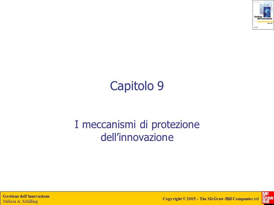 Gestione dellinnovazione Melissa A. Schilling Copyright © 2005 – The McGraw-Hill Companies srl Capitolo 9 I meccanismi di protezione dellinnovazione