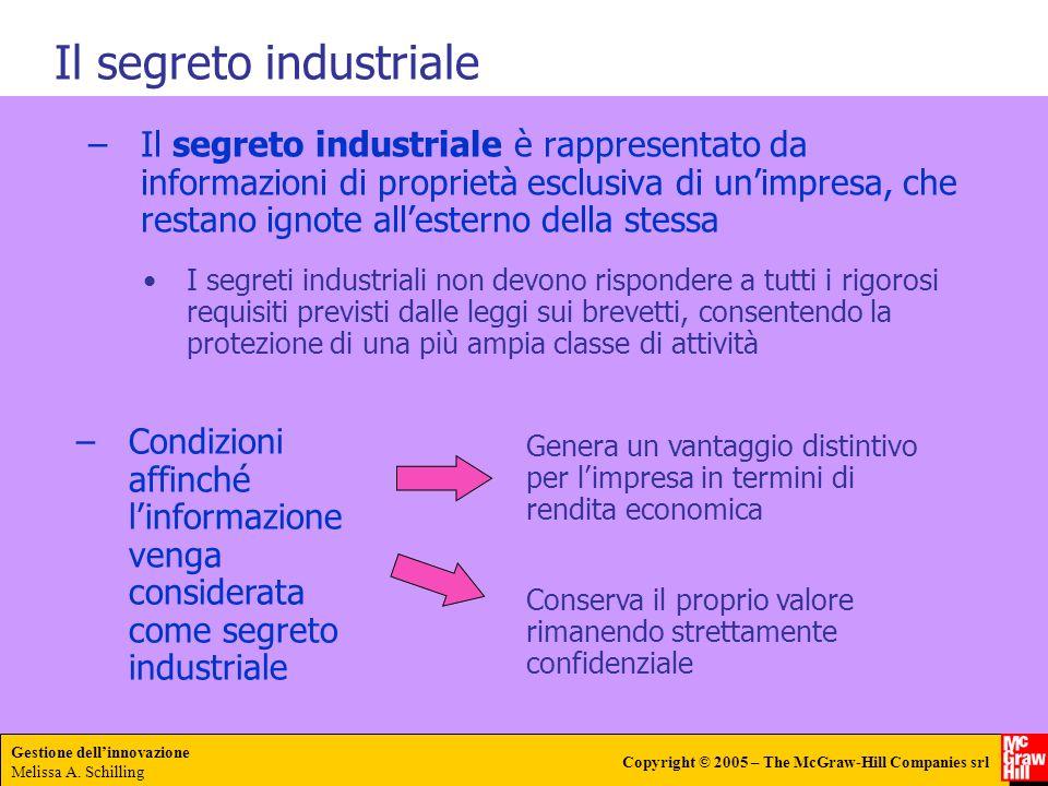 Gestione dellinnovazione Melissa A. Schilling Copyright © 2005 – The McGraw-Hill Companies srl –Il segreto industriale è rappresentato da informazioni