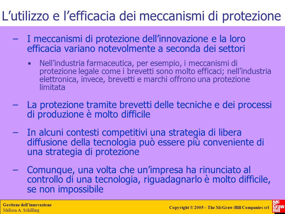 Gestione dellinnovazione Melissa A. Schilling Copyright © 2005 – The McGraw-Hill Companies srl –I meccanismi di protezione dellinnovazione e la loro e
