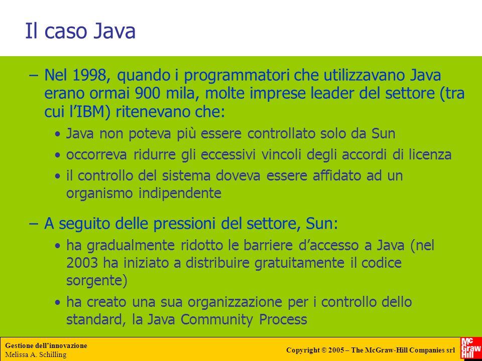 Gestione dellinnovazione Melissa A. Schilling Copyright © 2005 – The McGraw-Hill Companies srl Il caso Java –Nel 1998, quando i programmatori che util
