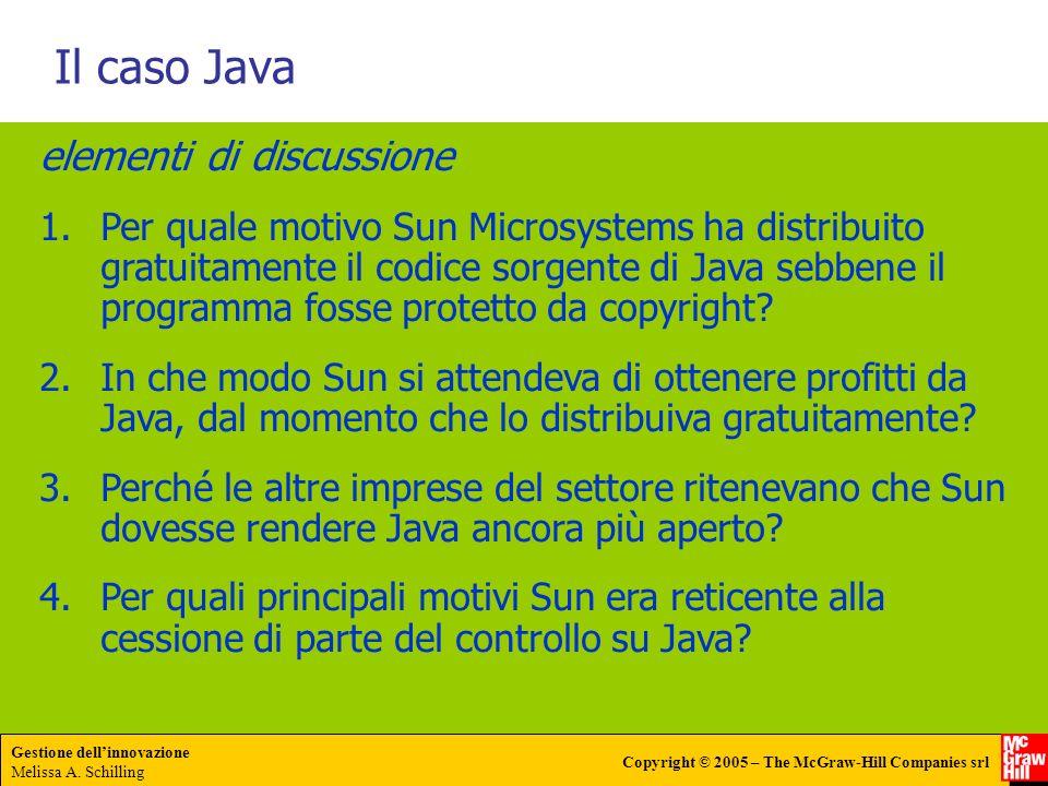 Gestione dellinnovazione Melissa A. Schilling Copyright © 2005 – The McGraw-Hill Companies srl Il caso Java elementi di discussione 1.Per quale motivo