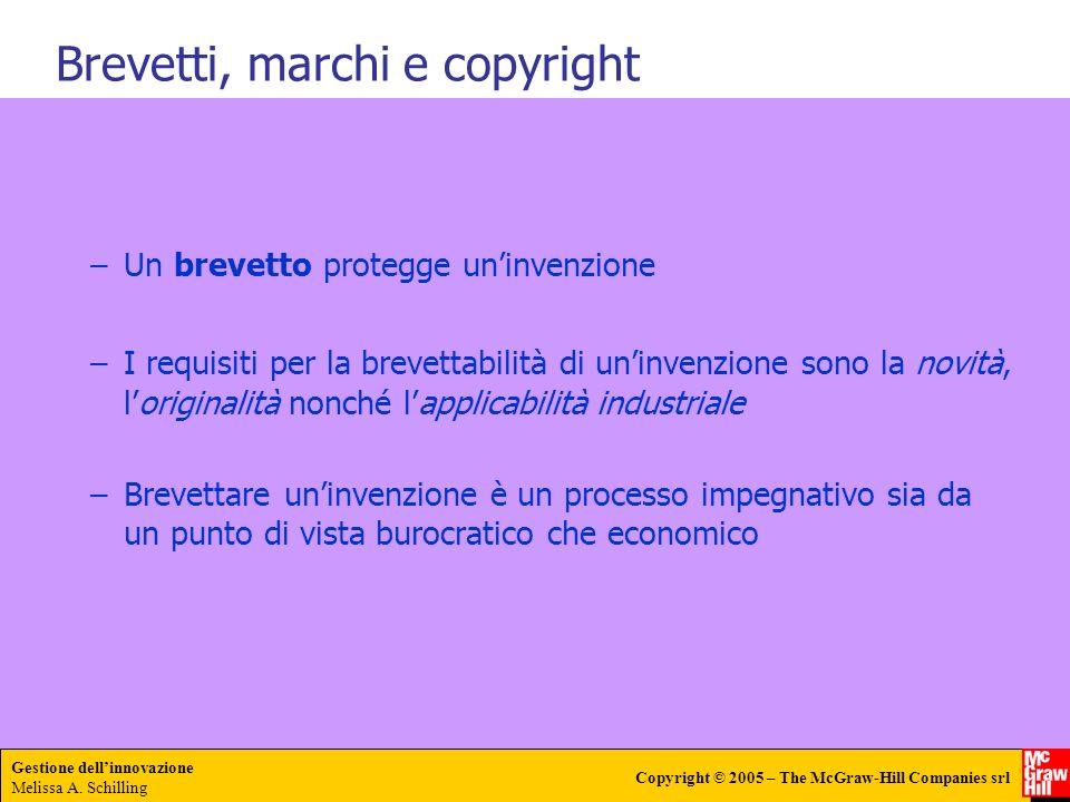 Gestione dellinnovazione Melissa A. Schilling Copyright © 2005 – The McGraw-Hill Companies srl –Un brevetto protegge uninvenzione –I requisiti per la