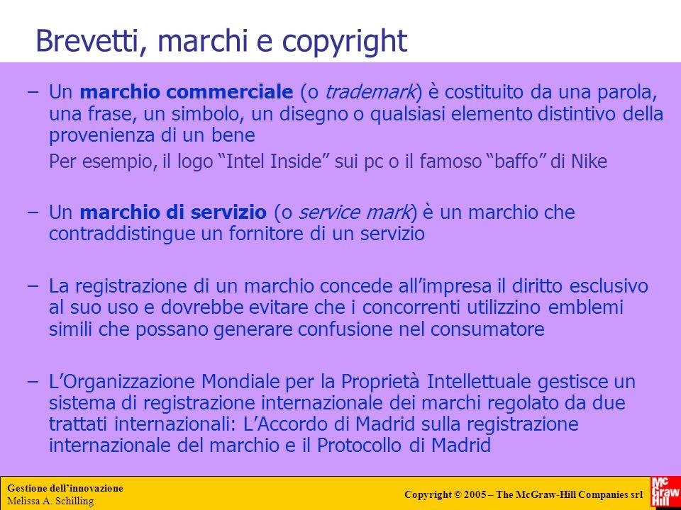 Gestione dellinnovazione Melissa A. Schilling Copyright © 2005 – The McGraw-Hill Companies srl –Un marchio commerciale (o trademark) è costituito da u