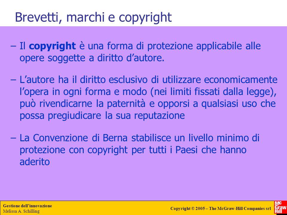 Gestione dellinnovazione Melissa A. Schilling Copyright © 2005 – The McGraw-Hill Companies srl –Il copyright è una forma di protezione applicabile all