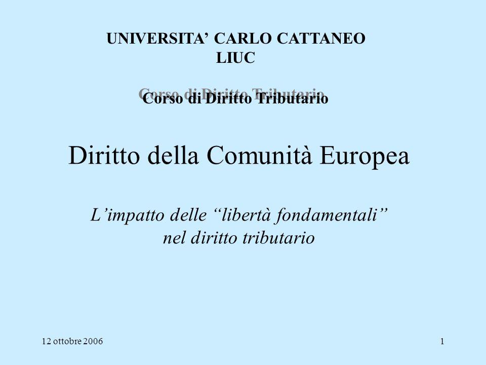 12 ottobre 20061 Diritto della Comunità Europea Limpatto delle libertà fondamentali nel diritto tributario UNIVERSITA CARLO CATTANEO LIUC Corso di Dir