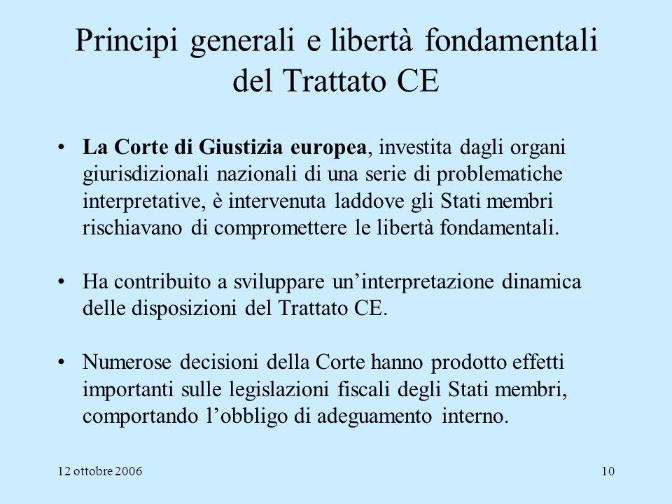 12 ottobre 200610 Principi generali e libertà fondamentali del Trattato CE La Corte di Giustizia europea, investita dagli organi giurisdizionali nazio