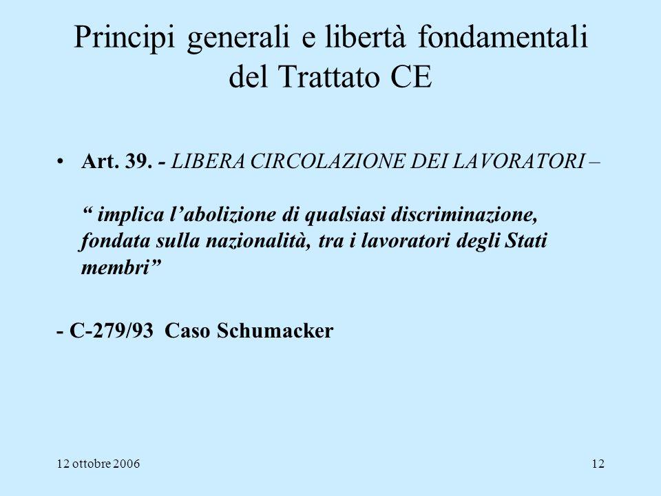 12 ottobre 200612 Principi generali e libertà fondamentali del Trattato CE Art. 39. - LIBERA CIRCOLAZIONE DEI LAVORATORI – implica labolizione di qual