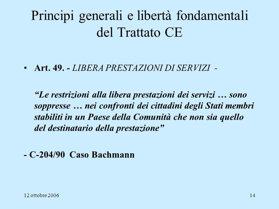 12 ottobre 200614 Principi generali e libertà fondamentali del Trattato CE Art. 49. - LIBERA PRESTAZIONI DI SERVIZI - Le restrizioni alla libera prest