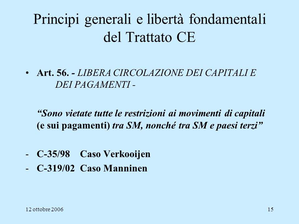 12 ottobre 200615 Principi generali e libertà fondamentali del Trattato CE Art. 56. - LIBERA CIRCOLAZIONE DEI CAPITALI E DEI PAGAMENTI - Sono vietate