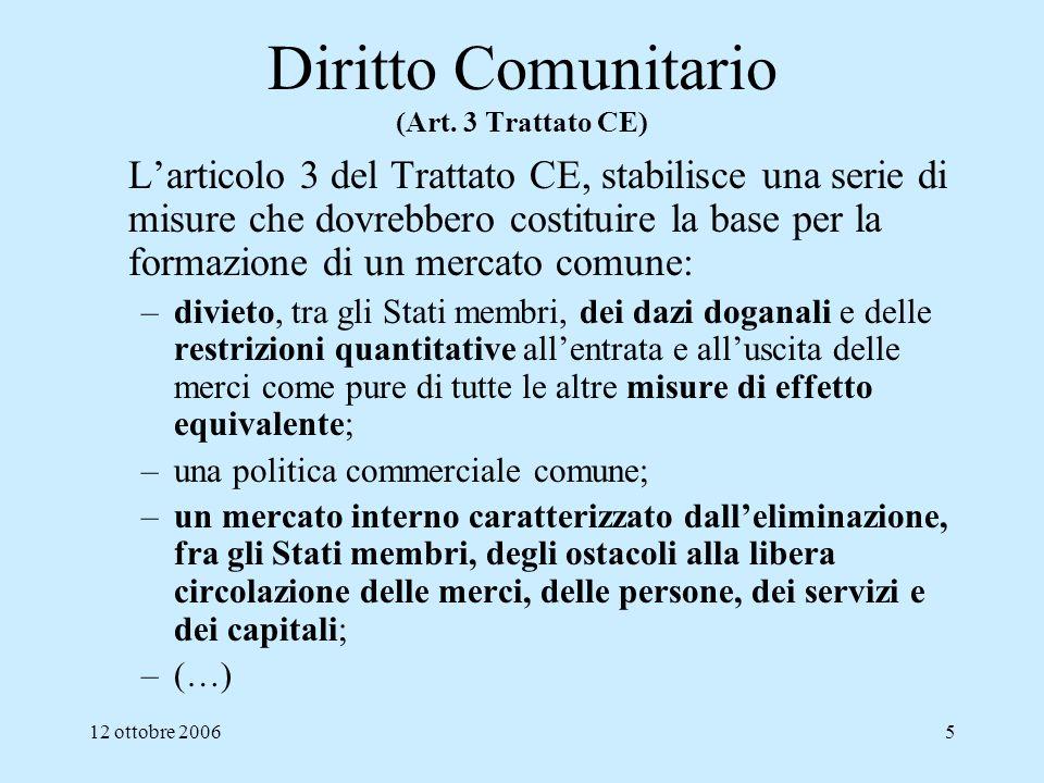 12 ottobre 20065 Diritto Comunitario (Art. 3 Trattato CE) Larticolo 3 del Trattato CE, stabilisce una serie di misure che dovrebbero costituire la bas