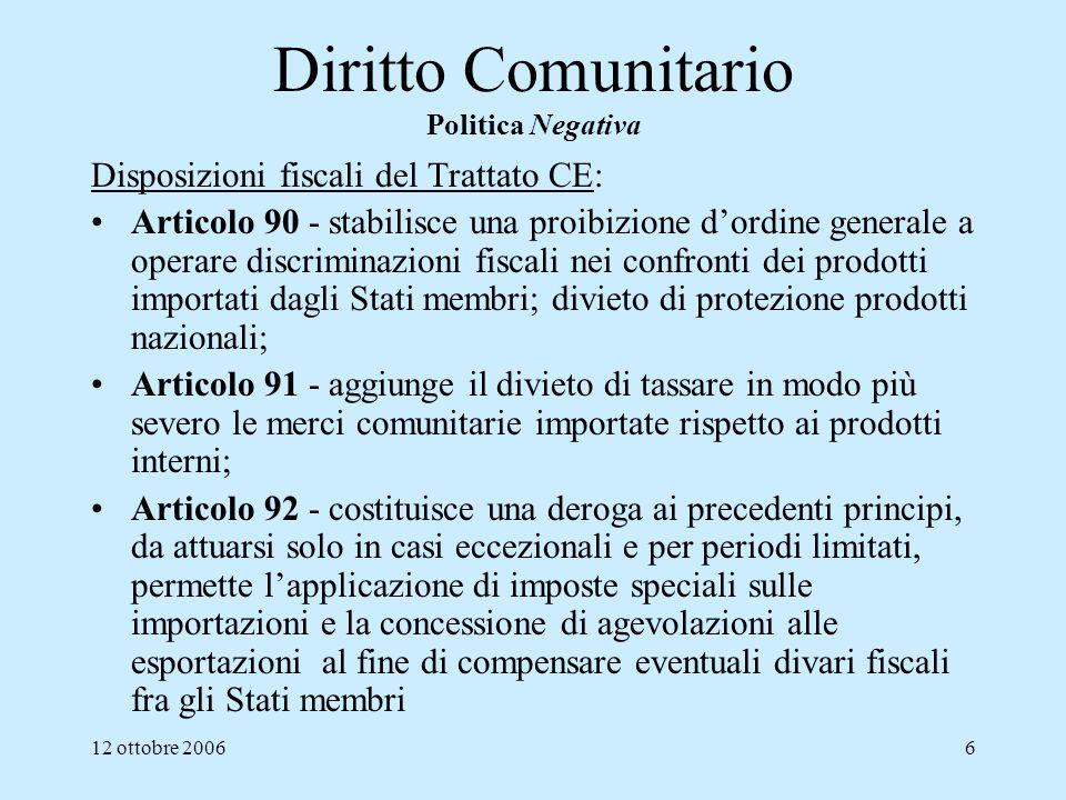 12 ottobre 20067 Diritto Comunitario Politica Positiva di Armonizzazione delle legislazioni degli SM Disposizioni fiscali del Trattato CE: Articolo 93 - prevede larmonizzazione delle legislazioni fiscali degli Stati membri nella misura e nei limiti in cui tale armonizzazione sia necessaria per un corretto funzionamento del mercato interno.