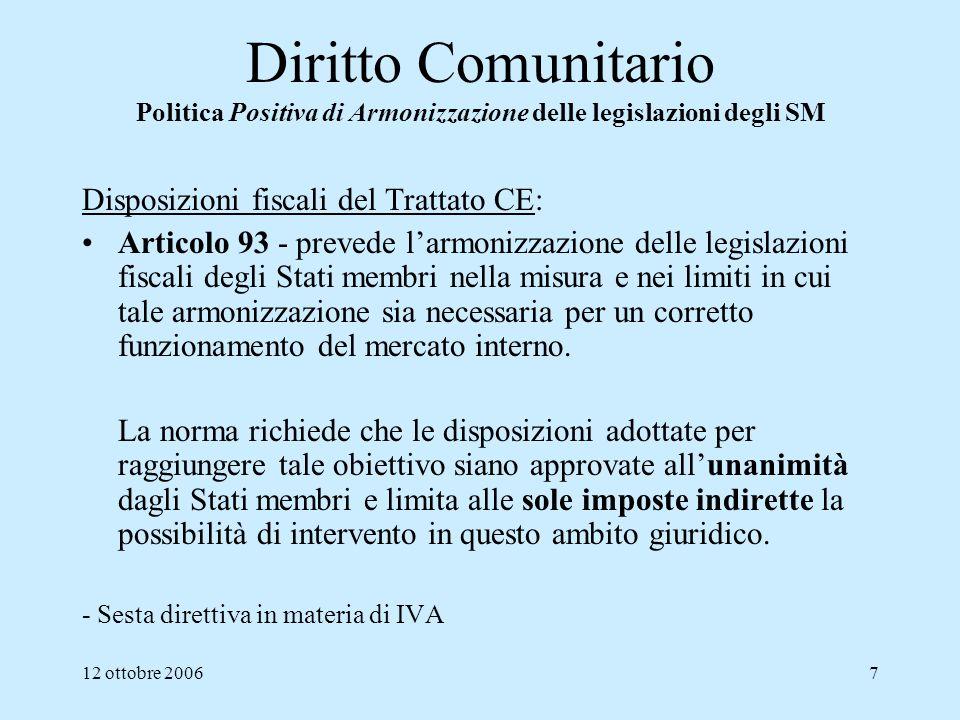 12 ottobre 20067 Diritto Comunitario Politica Positiva di Armonizzazione delle legislazioni degli SM Disposizioni fiscali del Trattato CE: Articolo 93