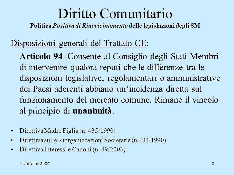 12 ottobre 20068 Diritto Comunitario Politica Positiva di Riavvicinamento delle legislazioni degli SM Disposizioni generali del Trattato CE: Articolo