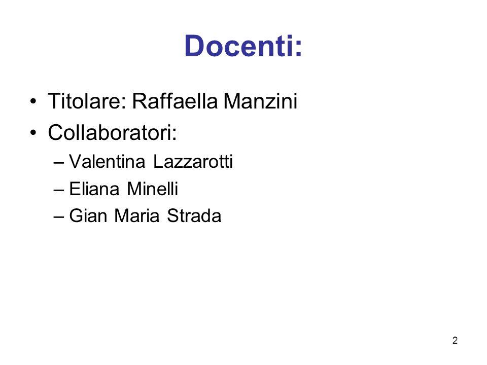 2 Docenti: Titolare: Raffaella Manzini Collaboratori: –Valentina Lazzarotti –Eliana Minelli –Gian Maria Strada