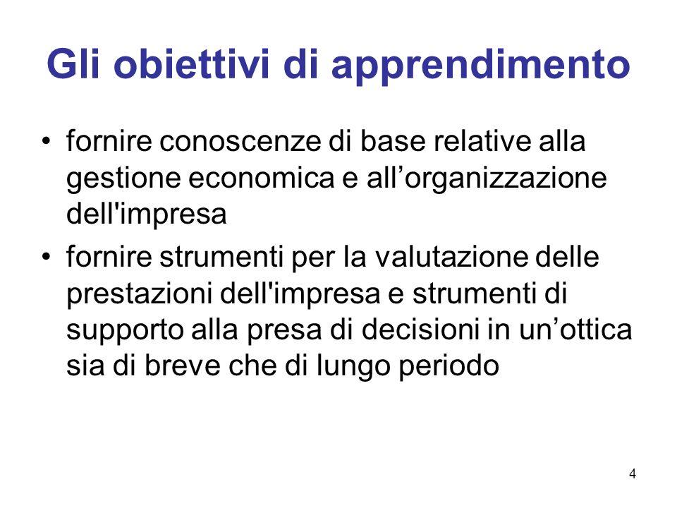 4 Gli obiettivi di apprendimento fornire conoscenze di base relative alla gestione economica e allorganizzazione dell'impresa fornire strumenti per la