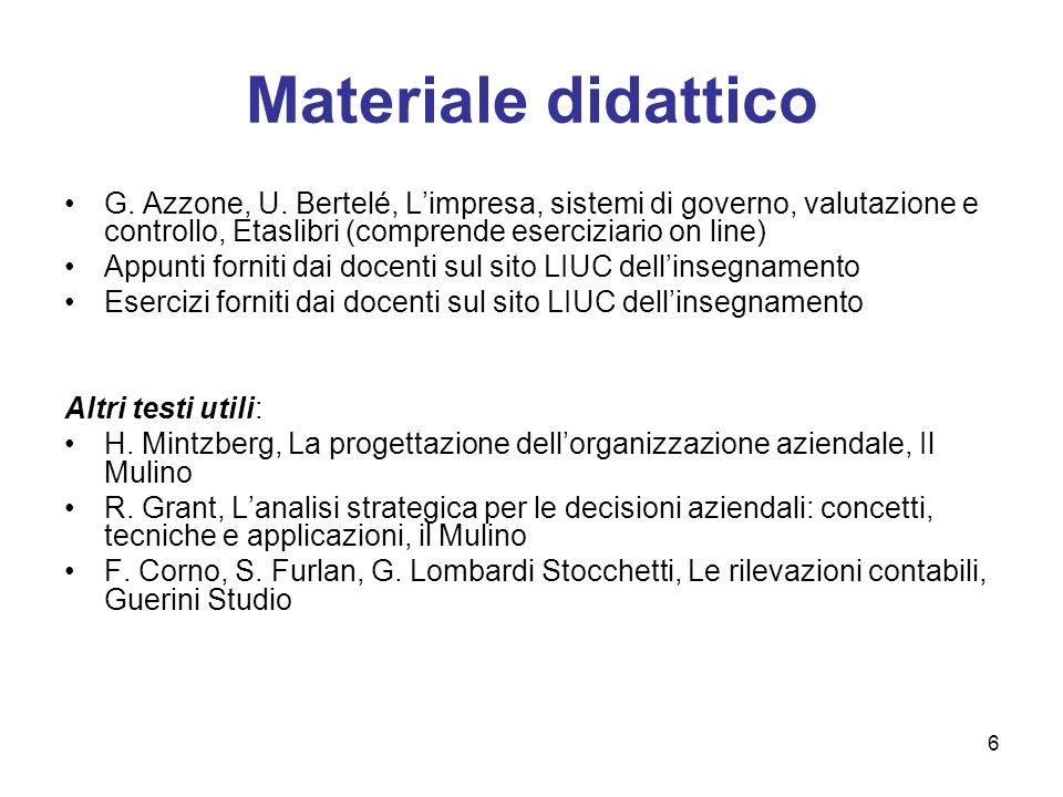 6 Materiale didattico G. Azzone, U. Bertelé, Limpresa, sistemi di governo, valutazione e controllo, Etaslibri (comprende eserciziario on line) Appunti