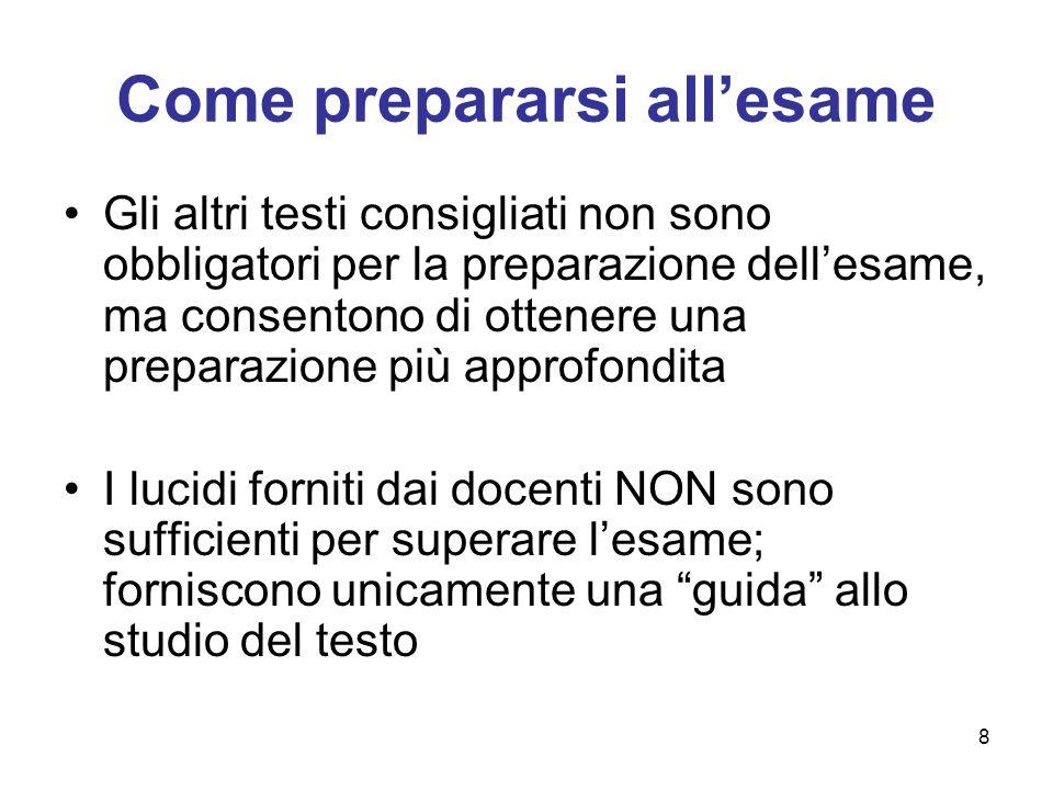 8 Come prepararsi allesame Gli altri testi consigliati non sono obbligatori per la preparazione dellesame, ma consentono di ottenere una preparazione